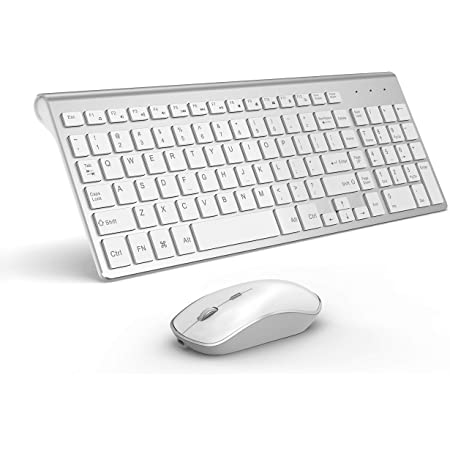 Jzenzero Rechargeable Wireless Keyboard Mouse Combo Compact Plastic Mice with Receiver