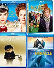 Dazzle & Delight Kids Fun Adventure Collection Where the Wild Things Are + The Big Miracle & Willy Wonka & The Chocolate Factory / Mirror Mirror Snow White Story Family Time 4 Movie Adventure Bundle