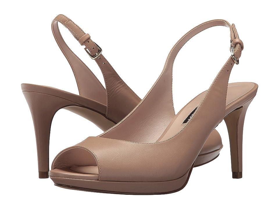 Nine West Gabrielle Slingback Peep Toe Pump (Light Natural Leather) Women