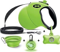 Ruff 'n Ruffus Retractable Dog Leash with Free Waste Bag Dispenser and Bags + Bonus Bowl | Heavy-Duty 16ft Retracting Pet ...