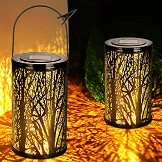 WENFENG 2 Pack Outdoor Hanging Solar Lantern Lights, Tabletop Lamp for Tree ,Patio,Garden,Fence,Backyard,Pathway Decoration (Black)
