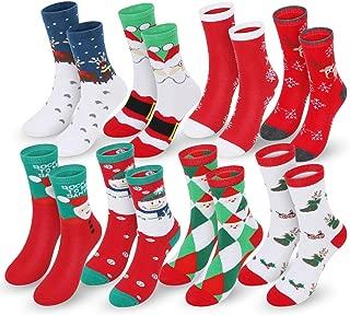 8 Pairs Christmas Holiday Socks Set, Slipper Socks Cotton Knit Crew Xmas Socks With Gift Box for Women Girls Novelty Christmas Gifts