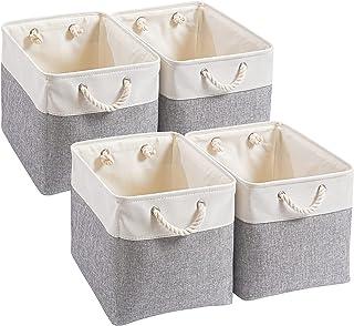 Mangata Boîtes de Rangement,(33x38x33cm)Grandes Paniers de Rangement pliable en toile avec poignées en corde Pour Vêtement...