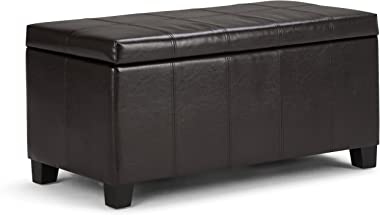Simpli Home Dover 36 inch Wide Rectangle Lift Top Storage Ottoman Bench in Upholstered Tanners Brown Faux Leather, Footrest Stool, Coffee Table for the Living Room, Bedroom and Kids Room