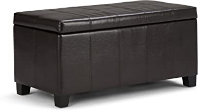 Simpli Home Dover 36 inch Wide Contemporary Rectangle Storage Ottoman Bench in Tanners Brown Faux Leather