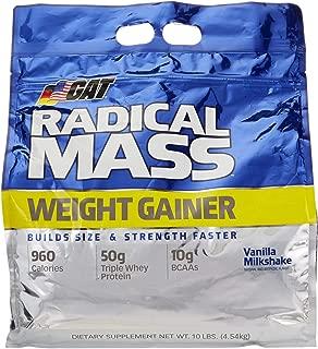 GAT Radical Mass, Top Weight Gainer For Building Size & Strength Faster, Premium Muscle Builder with milkshake flavor, Vanilla Milkshake, 10 Pounds