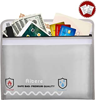 Aitere Fireproof Safe - Document & Money Bags, Fireproof & Water Resistant Bag (15.7