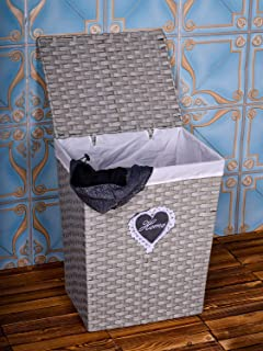YATAI Handwoven Laundry Basket, Synthetic Rattan Clothes Hamper with Lid, Removable Liner Bag Storage Basket Storage Organ...