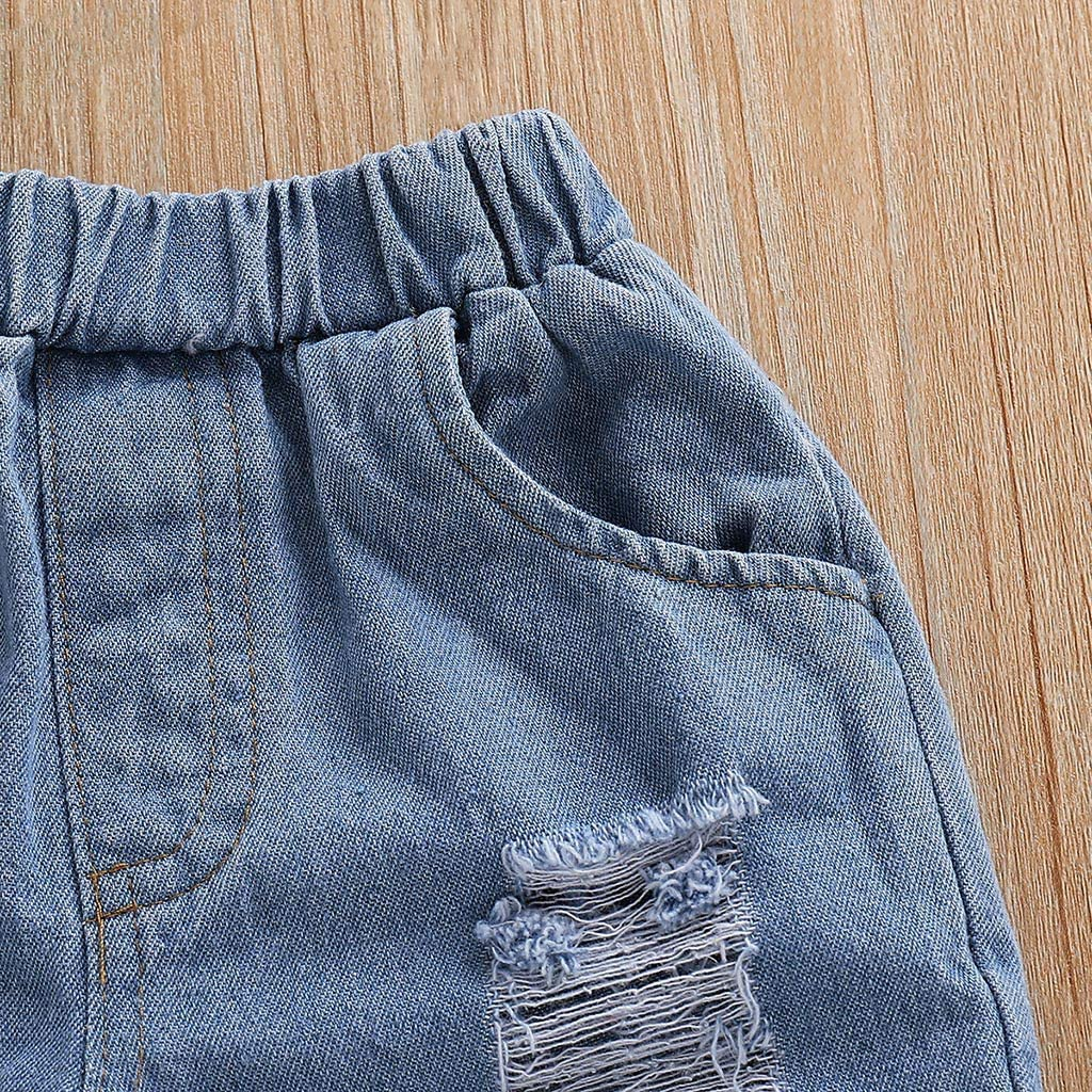 Franterd 3PCs Toddler Baby Girl Boho Clothes Sets Kids Off Shoulder Floral Print Tops Hole Denim Jean Shorts Outfits