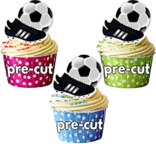 Decoraciones comestibles para cupcakes, diseño de fútbol y