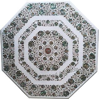 Regalos y Artefactos Brillante Abalone Shell Piedras Preciosas Incrustadas Mármol Mesa de Centro Mesa de Pasillo Forma Red...