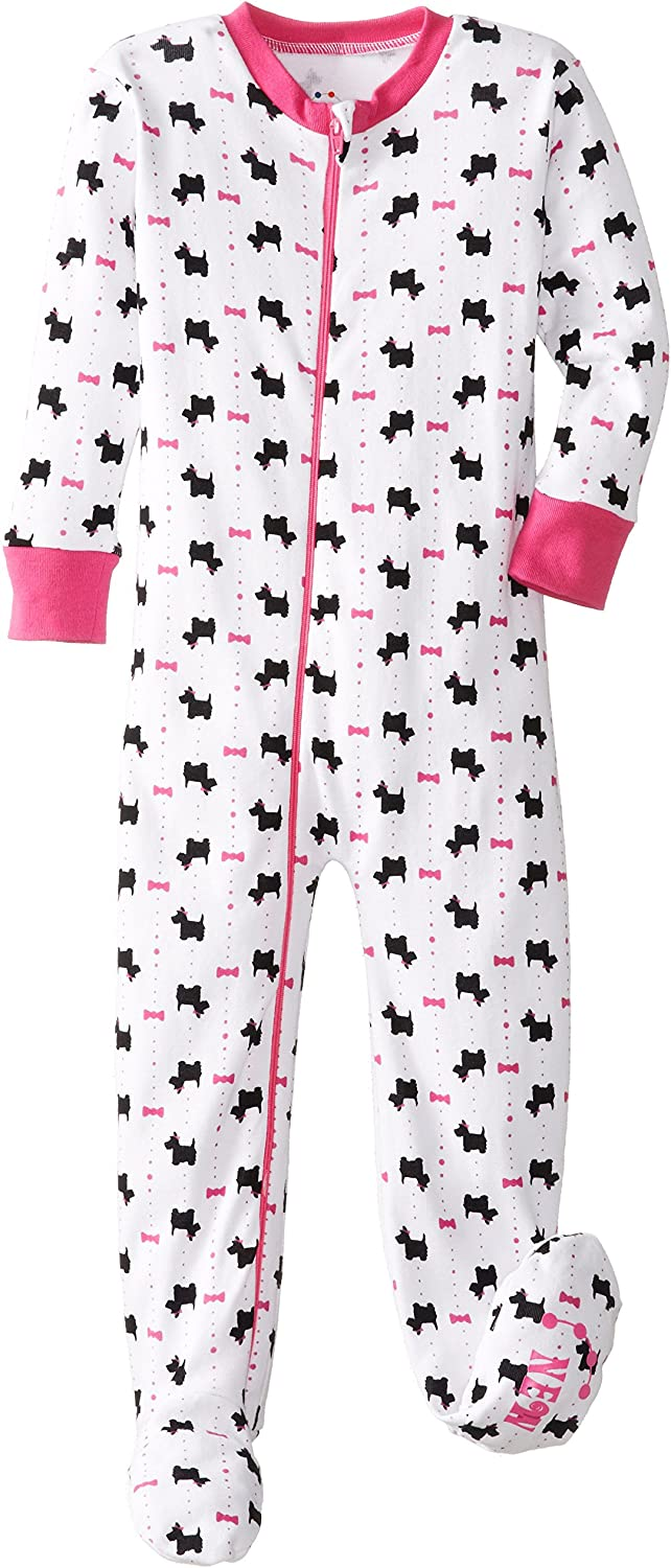 New Jammies Little Girls' Zippered Organic Footie Scotties and Bows