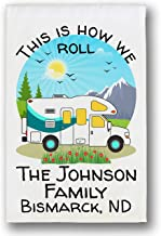 This is How We Roll Personalized Class C Motor Home Campsite Flag, Camping Sign, White..