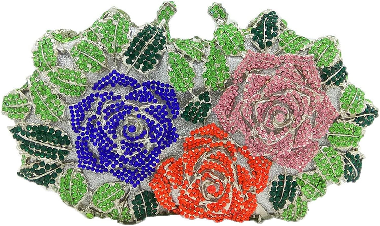 Women gold pink Flower Hollow Out Crystal Evening Metal Clutches Small Handbag Purse Wedding Box Clutch Bag