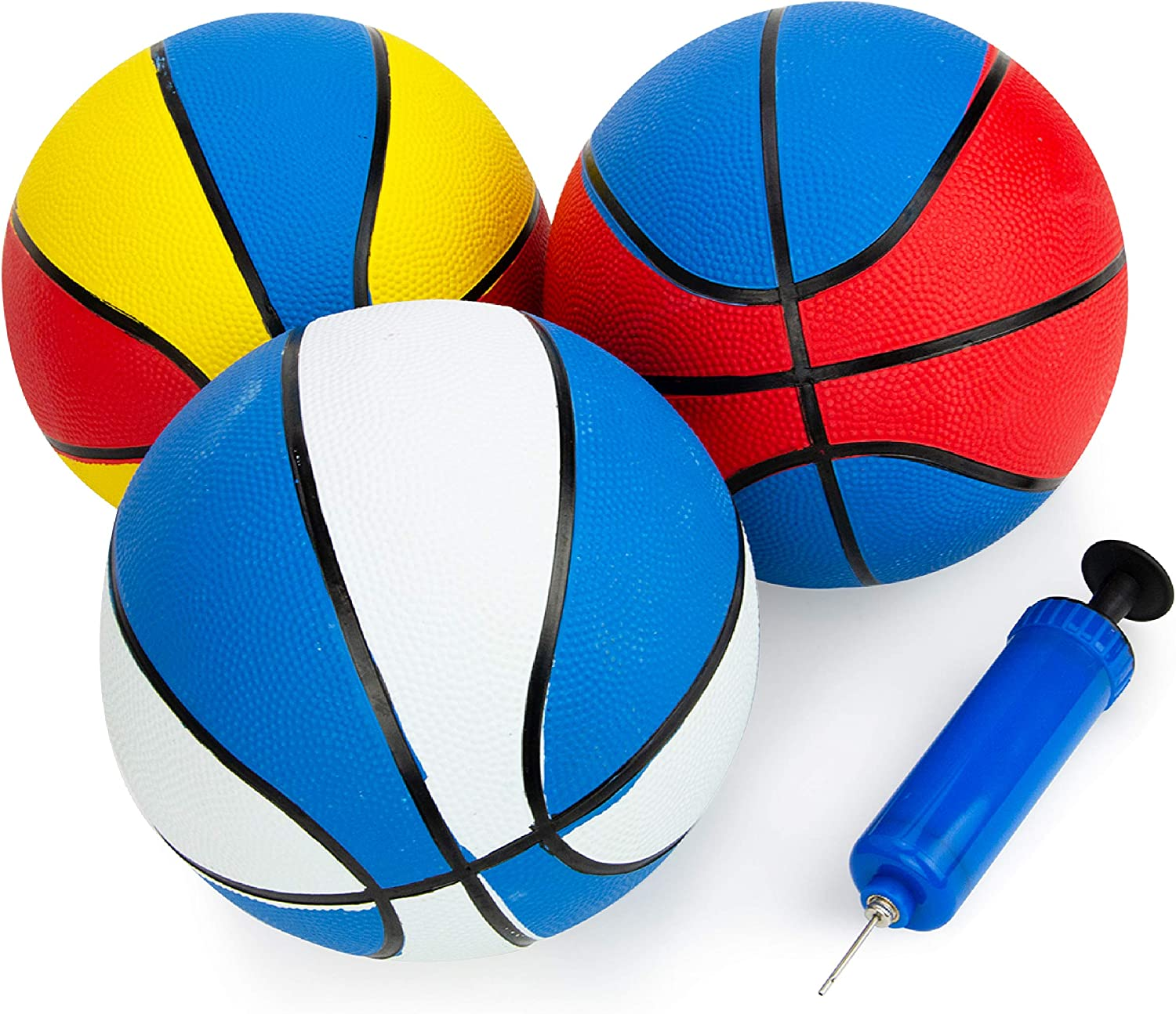 Boley Rubber Basketball Set with Pump - 3 Pk 22 inch Size 3 Indo