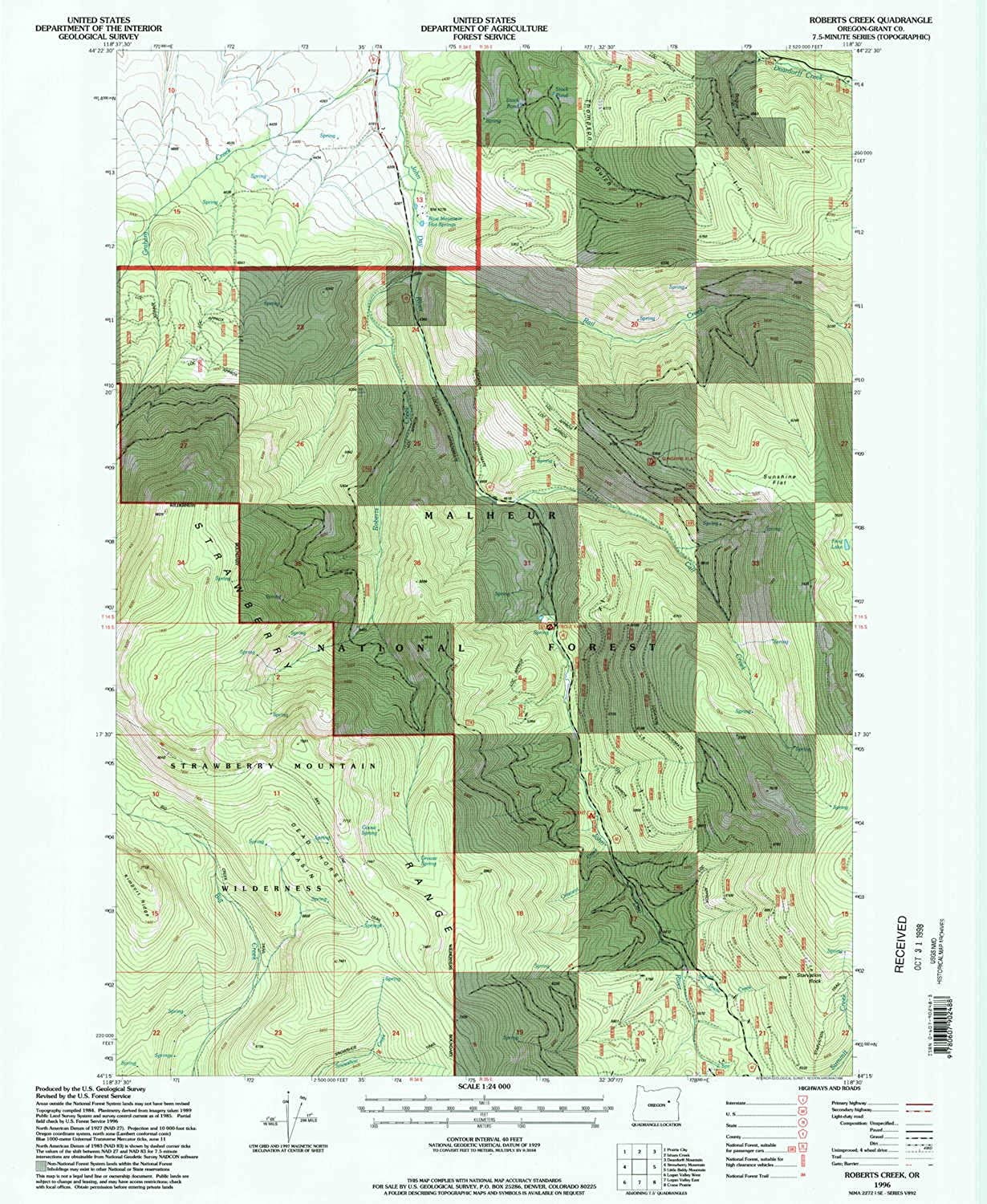Roberts Creek OR topo map, 1 24000 Scale, 7.5 X 7.5 Minute, Historical, 1996, Updated 1998, 26.7 x 21.9 in