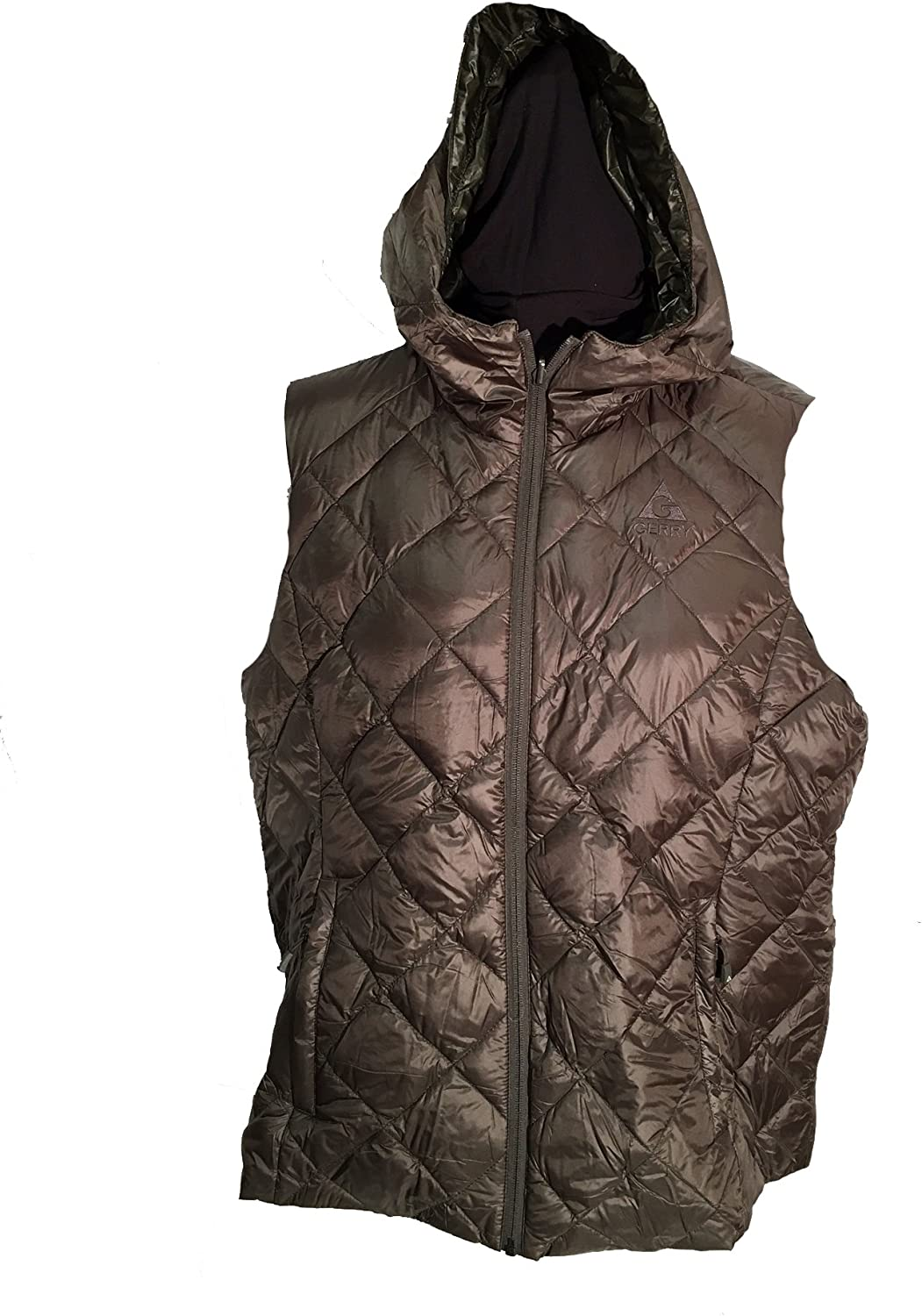 Gerry Womens Reversible Packable Down Filled Hooded Vest, Brown Camo XXL