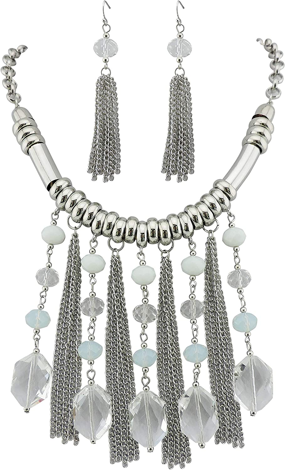 Bocar Collar Chain Statement Bib Chunky Necklace with Cluster Pendant Tassel 20