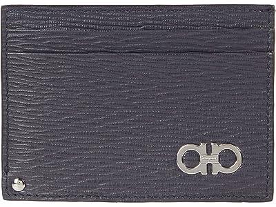 Salvatore Ferragamo Revival Gancio Bicolor Card Holder (Wegner Grey/Tabacco/Nero 1) Bill-fold Wallet