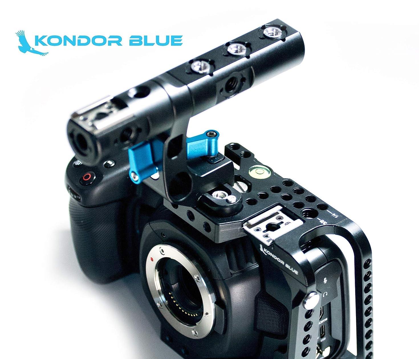 KONDOR BLUE BMPCC 4K Half Cage Rig for Blackmagic Pocket Cinema Camera 4K with Top Handle, NATO Rails, 15mm Rod, Cold Shoe, Bubble Leveler and Optional T5 SSD Holder & Metabones Speedbooster Bracket!