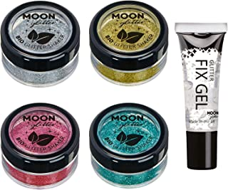 Biodegradable Eco Glitter Shakers by Moon Glitter - 100% Cosmetic Bio Glitter for Face, Body, Nails, Hair and Lips - 5g - Set of 4 - plus Glitter Fix Gel