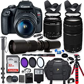 Canon EOS Rebel T7 DSLR Camera with 18-55mm is II Lens Bundle + Canon EF 75-300mm f/4-5.6 III Lens and 500mm Preset Lens +...