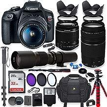 Canon EOS Rebel T7 - Cámara réflex digital con objetivo de 0.709-2.165in y objetivo de 19.685in + memoria de 32 GB + filtros + monopié + paquete profesional