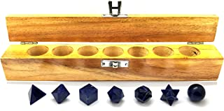 Realcrystalstore Sodalite Stone Crystal Platonic Solids Sacred Geometry 7 Pcs Set for Chakra Balancing Healing Gemstone Energy