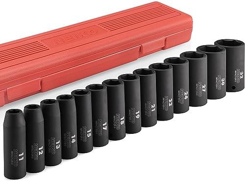 "Neiko 02475A 1/2"" Drive Deep Impact Socket Set, 14 Piece | 6 Point Metric Sizes (11-32 mm) | Cr-V Steel"