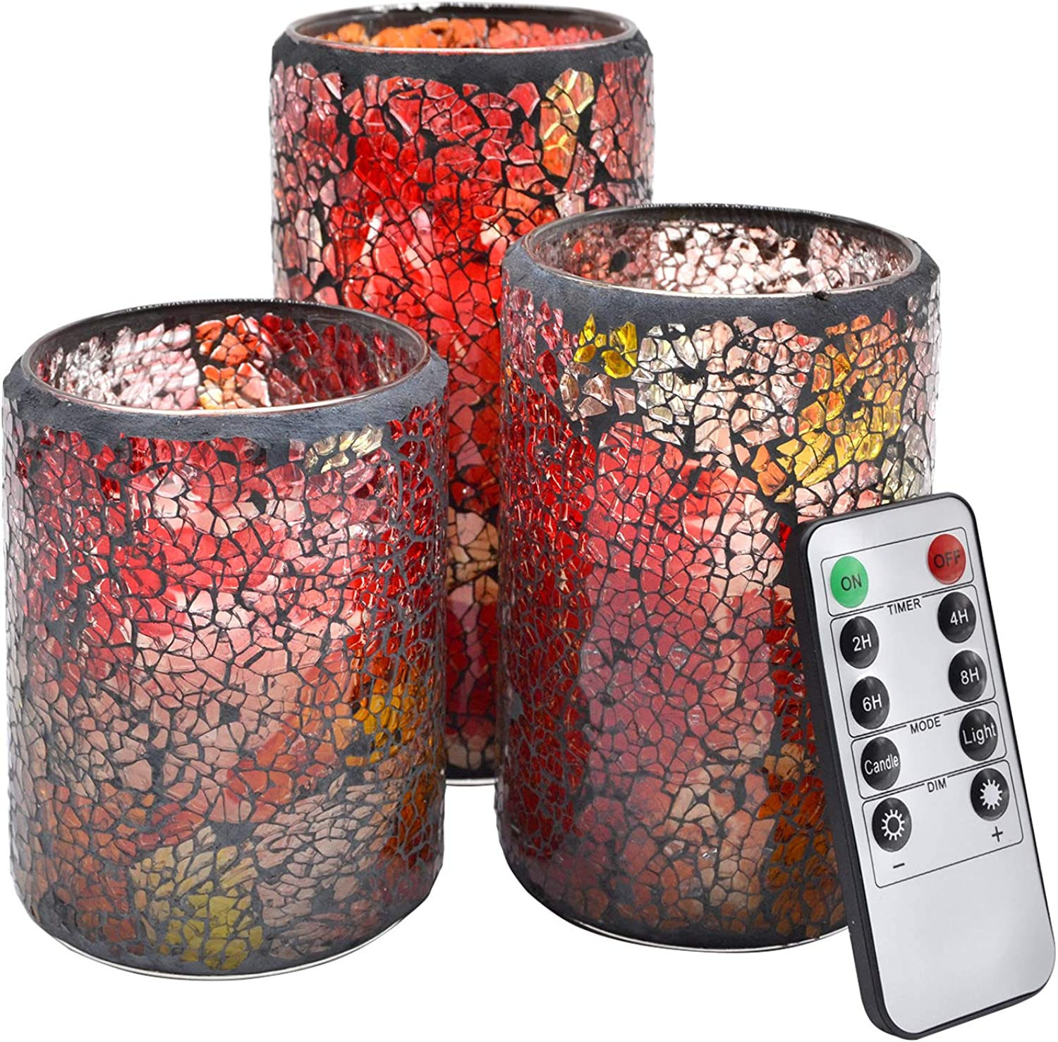NIGHTKEY LED Mosaic Glass 3D Dancing Flame Pillar Real Wax Novelty Candle with 10-Key Control Remote and 2 4 6 8H Timer, Vanilla Scented, Pack of 3 (3 X 4 5 6 )