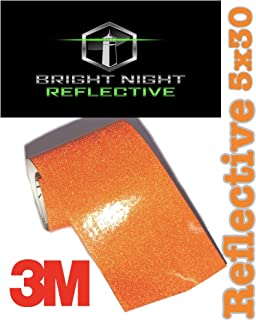 Bright Night Reflective 3M Motorcycle Helmet Safety Tape Decal Sticker Kit DYI (Orange, 5x30)