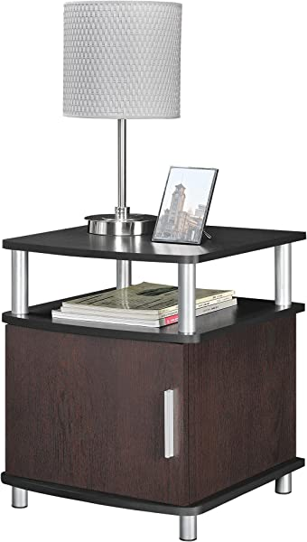 Ameriwood Home Carson End Table With Storage Cherry Black