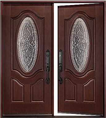 Fiberglass Door Double-Open Doors Front Entry Exteriror Entrance Door, Dark Mahogany Finish, Pre-Hung Quick Install, Safety H