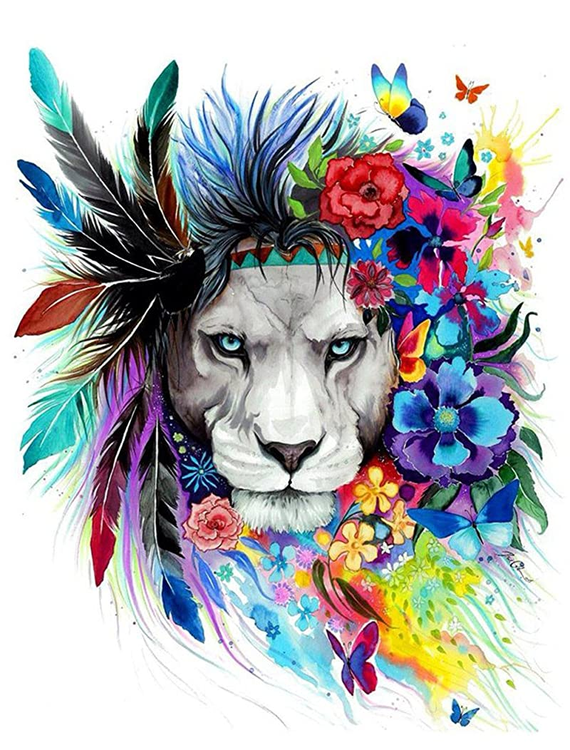 Morgofun DIY Painting Paint by Numbers for Adults Beginner, Paint by Number Kit Colorful Lion DIY Painting 16x20inch