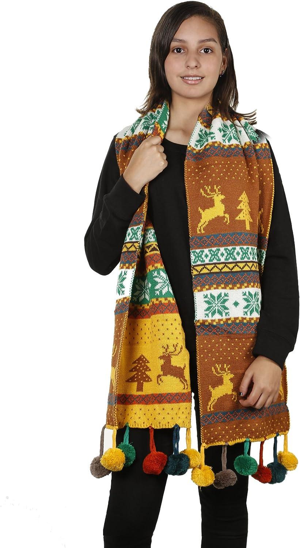 Womens Christmas Tree Reindeer Snowflake Reversible Knit Wraparound Scarf Shawl
