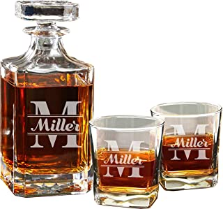 Personalized Groomsman Whiskey Decanter and 2 Glasses Gift Set - Custom Engraved for Free - WPS Styles (Original Design)