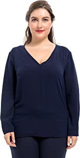 Chicwe Women's Stretch Plus Size Top Blouse V-Neck 1X-4X