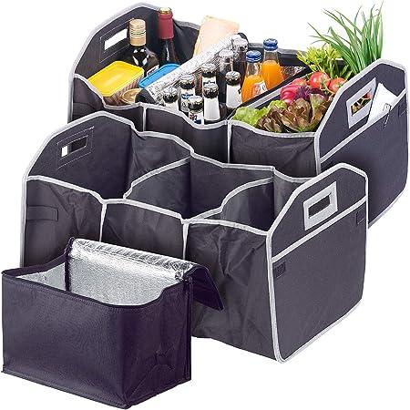 Lescars Kofferraumbox 2er Set 2in1 Kofferraum Organizer Mit 3 Fächern Kühltasche Faltbar Car Organizer Kofferraum Auto