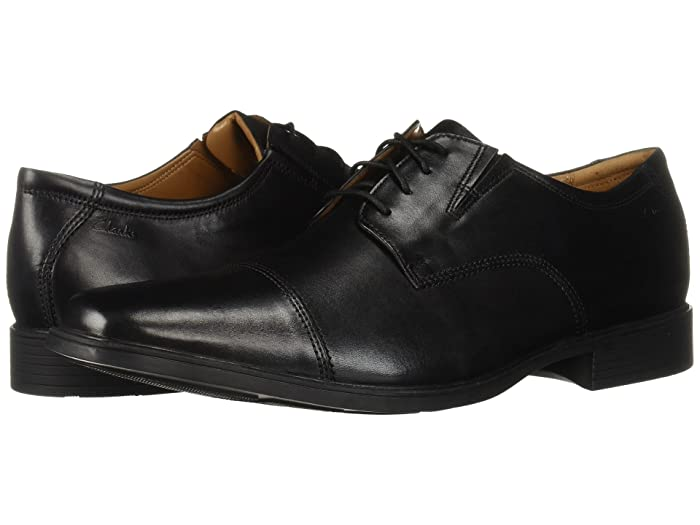 Edwardian Men's Shoes & Boots | 1900, 1910s Clarks Tilden Cap Black Mens Shoes $44.99 AT vintagedancer.com