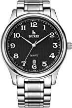BUREI Men's Watch Date Quartz Wrist Watch with Classic Arabic Numbers Analog Dial and Silver Stainless Steel Bracelet