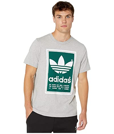 adidas Originals Filled Label Tee (Medium Grey Heather/Collegiate Green) Men