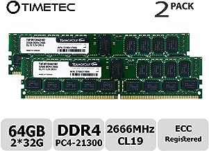 Timetec 64GB KIT(2x32GB) DDR4 2666MHz PC4-21300 Registered ECC 1.2V CL19 2Rx4 Dual Rank 288 Pin RDIMM Server Memory Ram Module Upgrade (64GB KIT(2x32GB))