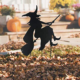Fun Express Witch on Broomstick Silhouette Yard Sign (Includes Stakes) Metal Halloween Decoration