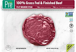 Pre, Filet Mignon Steak – 100% Grass-Fed, Grass- Finished, and Pasture-Raised Beef – 5oz.