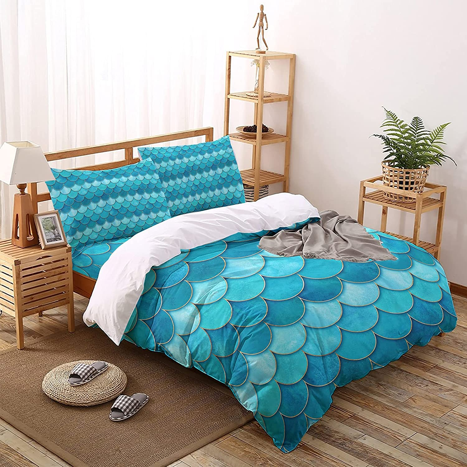 MUSEDAY 4 Pieces Duvet Cover Bedding Ocean Water Ranking TOP2 Gree Set Summer At the price