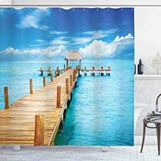 """Ambesonne Tropical Shower Curtain, Bungalow on Clear Sea Travel Destination Beach Seascape Exotic View, Cloth Fabric Bathroom Decor Set with Hooks, 70"""" Long, Brown Blue"""