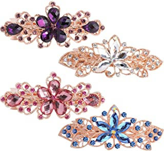 Hair Barrettes for Women,WHAVEL 4Pcs Flower Crystal Rhinestones Hair Barrettes Hair Clips Luxury Jewelry Spring French Hai...