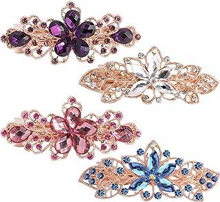 Hair Barrettes for Women,WHAVEL 4Pcs Flower Crystal Rhinestones Hair Barrettes Hair Clips Luxury Jewelry Spring French Hai...
