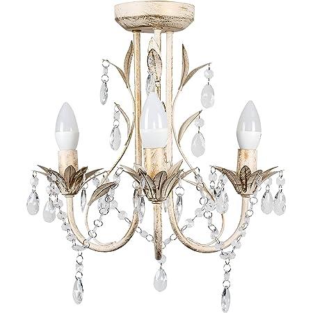 Raccord de lustre contemporain style shabby chic 3voies avec perles décoratives en acrylique