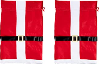 Santa Gift Sack - 3-Pack Large Christmas Toy Presents Bag with Drawstring, Santa Claus Suit Design, Red, White and Black, 19.5 x 29.5 Inches